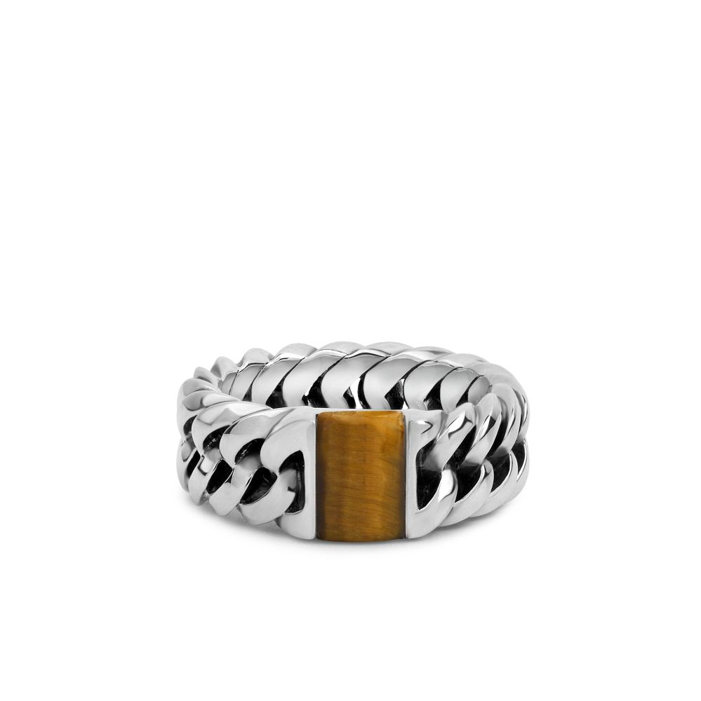 Chain Stone Ring Tiger Eye Maat 16