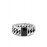 603ON 16 - Chain Stone Ring Onyx
