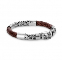 Katja Mix Silver/Leather Brown Armband