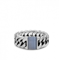 Chain Stone Ring Blue Lace Agate